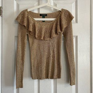 Lauren Ralph Lauren Petite Gold Ruffle Sweater